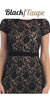 Lace Short Sleeves Knee-Length Cocktail Dress with Sequins Black/Taupe