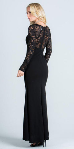 Long Sleeves Sheath Formal Dress Illusion Lace Bodice Black