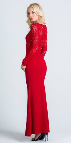 Long Sleeves Sheath Formal Dress Illusion Lace Bodice Red