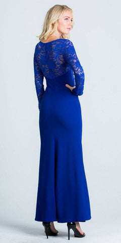 Long Sleeves Sheath Formal Dress Illusion Lace Bodice Royal Blue