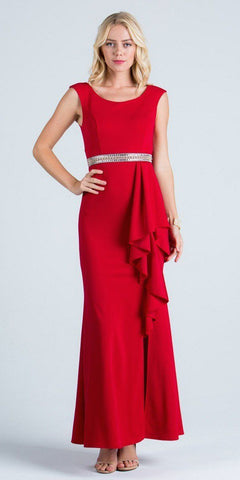 Red Sleeveless Long Formal Sheath Dress with Ruffles