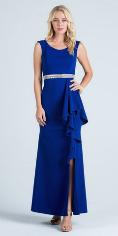 Royal Blue Sleeveless Long Formal Sheath Dress with Ruffles