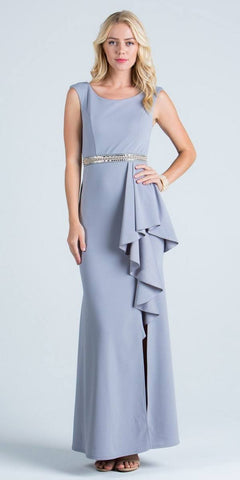 Silver Sleeveless Long Formal Sheath Dress with Ruffles