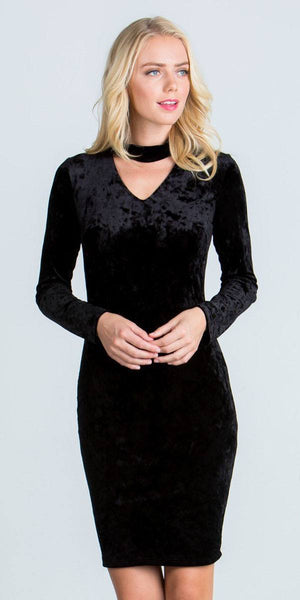 Cut Out V-Neckline Short Cocktail Dress Long Sleeves Black