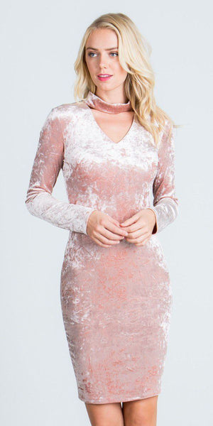 Cut Out V-Neckline Short Cocktail Dress Long Sleeves Blush