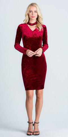 Cut Out V-Neckline Short Cocktail Dress Long Sleeves Burgundy