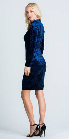 Cut Out V-Neckline Short Cocktail Dress Long Sleeves Navy Blue