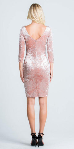 Mid-Length Sleeves Short Cocktail Dress Embellished Neckline Blush