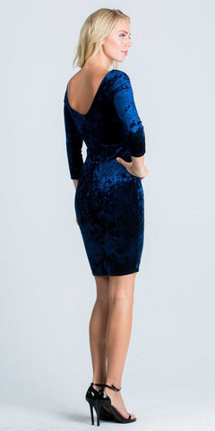 Mid-Length Sleeves Short Cocktail Dress Embellished Neckline Navy Blue