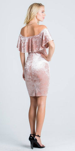 Blush Off Shoulder Velvet Bodycon Party Dress with V-Notch