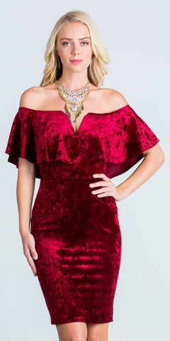 Burgundy Off Shoulder Velvet Bodycon Party Dress with V-Notch