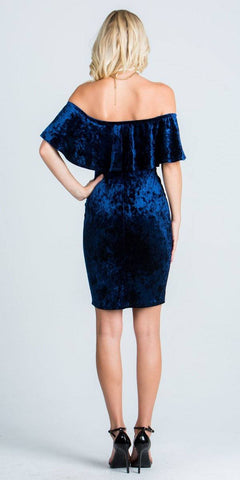 Navy Blue Off Shoulder Velvet Bodycon Party Dress with V-Notch