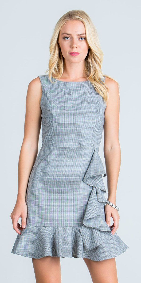 1659f394640d ... Teal Sleeveless Short Baby Doll Plaid Dress with Ruffles ...