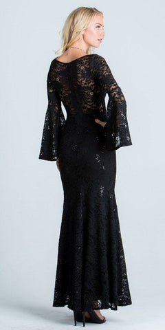 Lace Scoop Neckline Long Formal Dress with Bell Sleeves Black