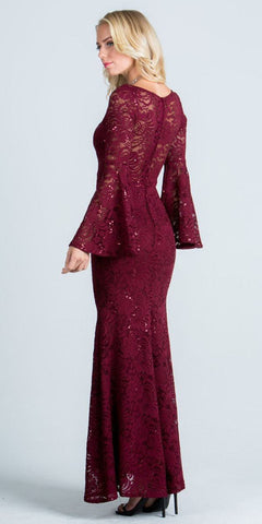 Lace Scoop Neckline Long Formal Dress with Bell Sleeves Burgundy