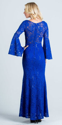 Lace Scoop Neckline Long Formal Dress with Bell Sleeves Royal Blue