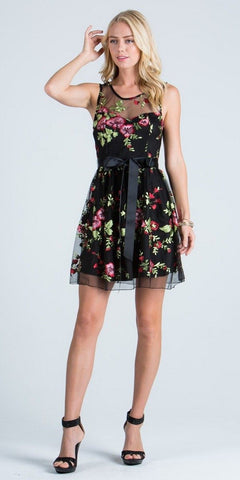 Embroidered Short Cocktail Dress with Ribbon Sash Belt Black
