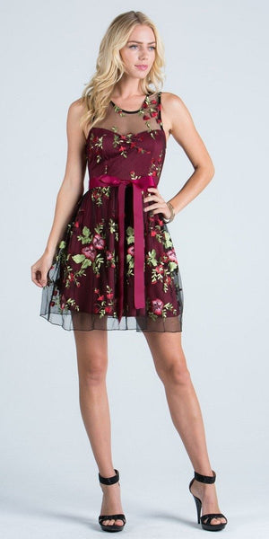 Embroidered Short Cocktail Dress with Ribbon Sash Belt Burgundy