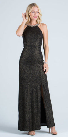 Black Formal Column Dress Embellished Neckline with Slit