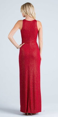 Red Formal Column Dress Embellished Neckline with Slit