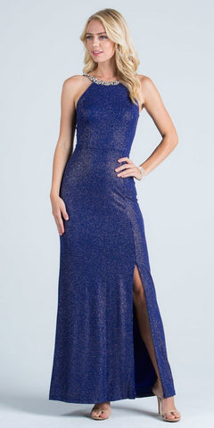 Royal Blue Formal Column Dress Embellished Neckline with Slit