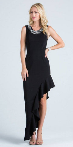Black Ruffled Asymmetrical Gown Beaded Neckline Sleeveless