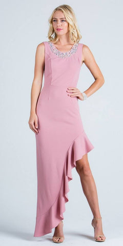 Blush Ruffled Asymmetrical Gown Beaded Neckline Sleeveless