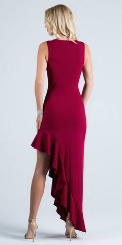 Burgundy Ruffled Asymmetrical Gown Beaded Neckline Sleeveless