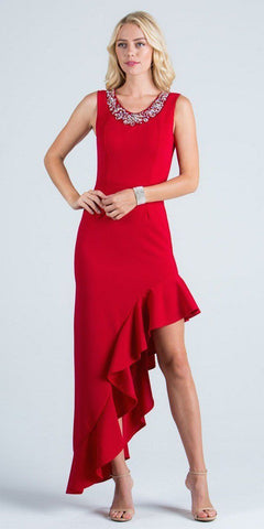 Red Ruffled Asymmetrical Gown Beaded Neckline Sleeveless