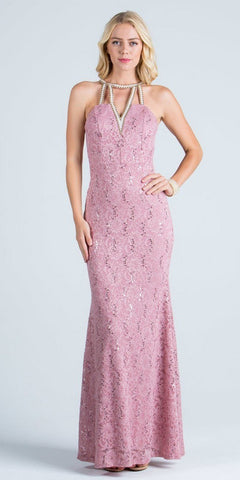 Blush Evening Gown Embellished Neck Cut Out Back