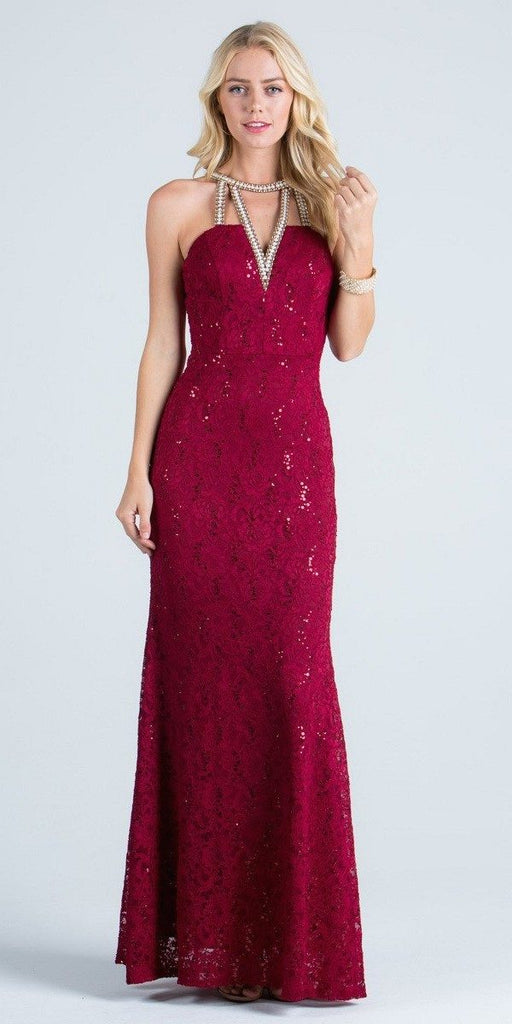 Burgundy Evening Gown Embellished Neck Cut Out Back