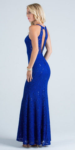 Royal Blue Evening Gown Embellished Neck Cut Out Back