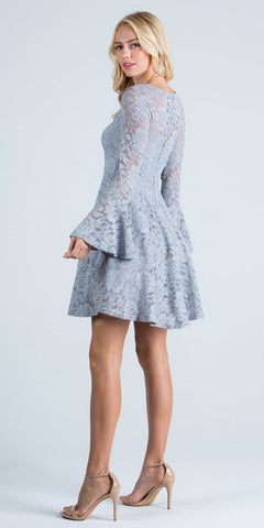Silver Fit and Flare Lace Cocktail Dress with Bell Sleeves