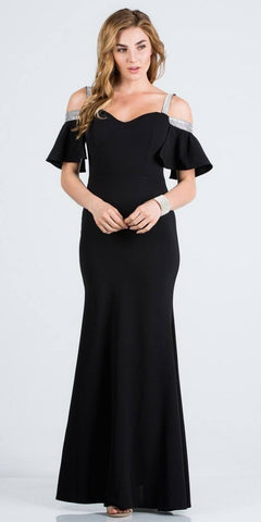 Bell Sleeve Cold Shoulder Strap Long Semi Formal Dress Black