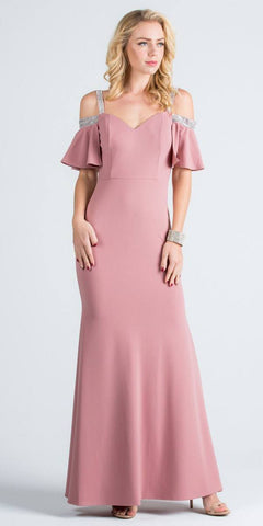 Bell Sleeve Cold Shoulder Strap Long Semi Formal Dress Blush
