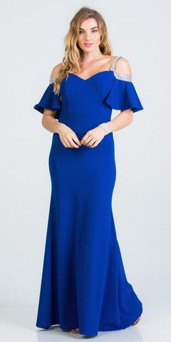 Bell Sleeve Cold Shoulder Strap Long Semi Formal Dress Royal Blue