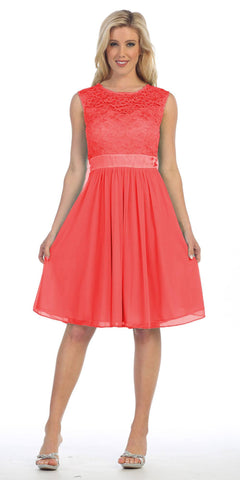 Knee Length Sleeveless Coral Dress Lace Top Chiffon Skirt