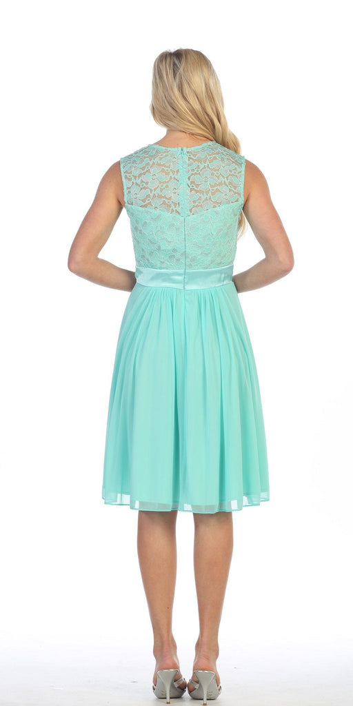 Knee Length Sleeveless Mint Dress Lace Top Chiffon Skirt Back