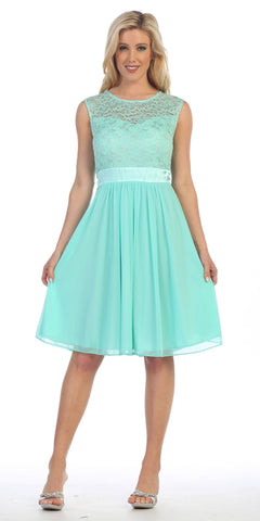 Knee Length Sleeveless Mint Dress Lace Top Chiffon Skirt