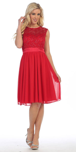 Knee Length Sleeveless Red Dress Lace Top Chiffon Skirt