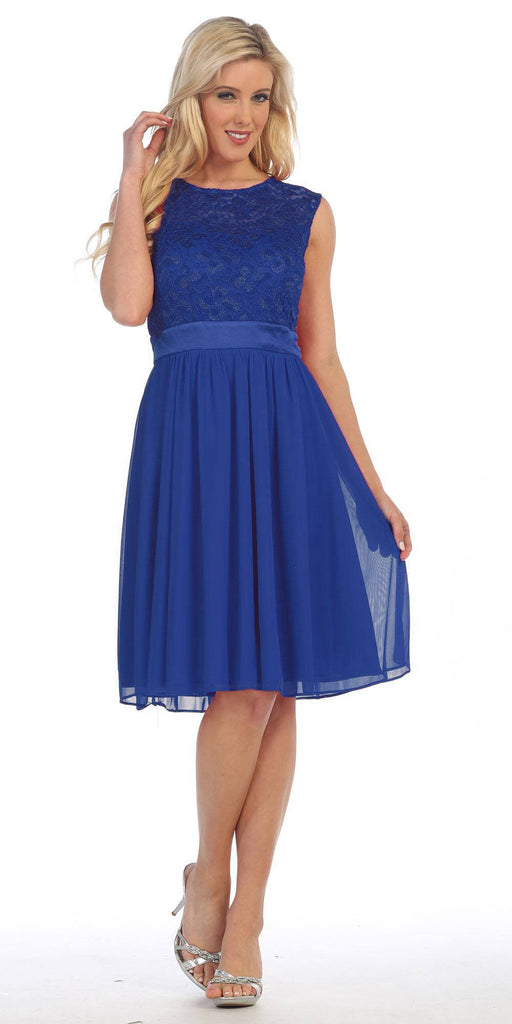 Knee Length Sleeveless Royal Blue Dress Lace Top Chiffon Skirt