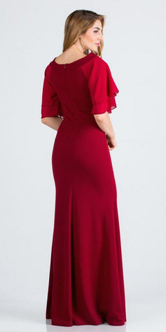 Burgundy Long Formal Dress with Bell Sleeves