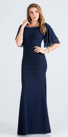 Navy Blue Long Formal Dress with Bell Sleeves