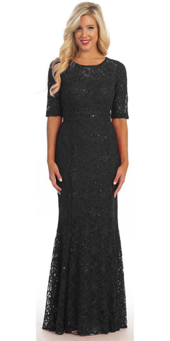 Modest Full Length Mermaid Lace Dress Black Mid Length Sleeves