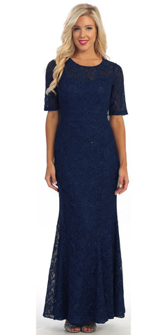 Modest Full Length Mermaid Lace Dress Navy Blue Mid Length Sleeves