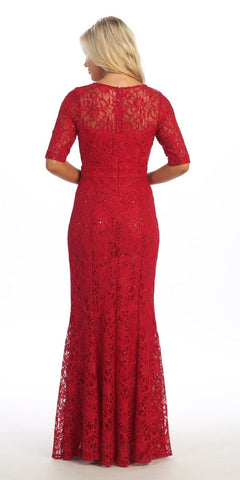 Modest Full Length Mermaid Lace Dress Red Mid Length Sleeves