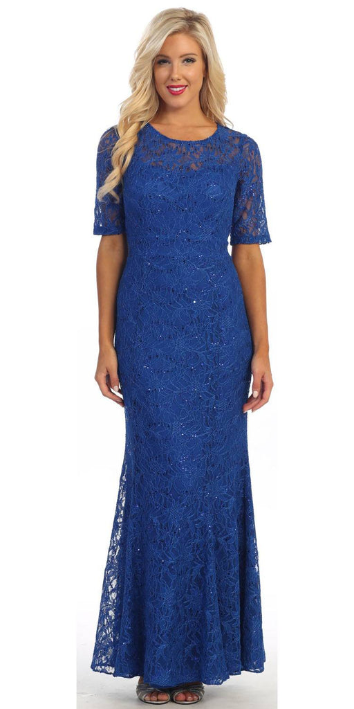 Modest Full Length Mermaid Lace Dress Royal Blue Mid Length Sleeves