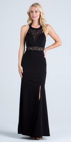 La Scala 24826 See Through Waist Long Black Dress Halter Side Slit