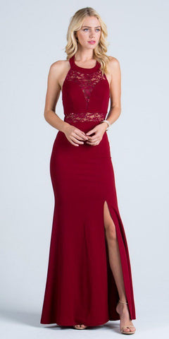 La Scala 24826 See Through Waist Long Burgundy Dress Halter Side Slit