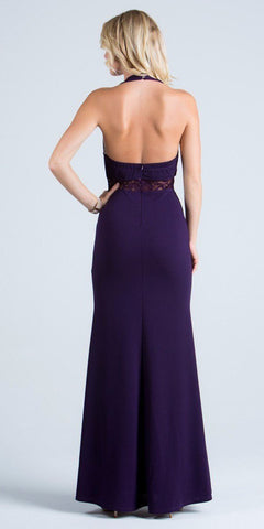La Scala 24826 See Through Waist Long Eggplant Dress Halter Side Slit Back View